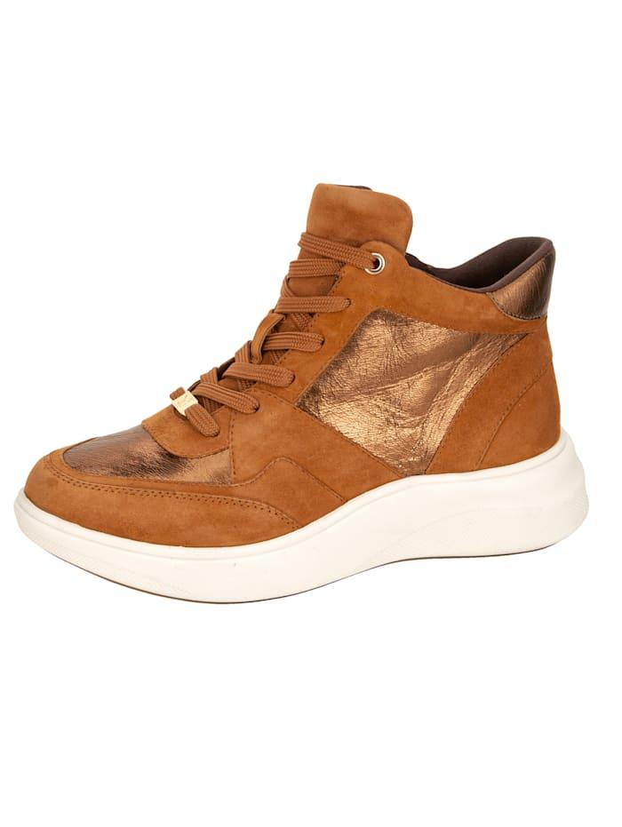 Caprice High Sneaker in tollem Ledermix, Rost
