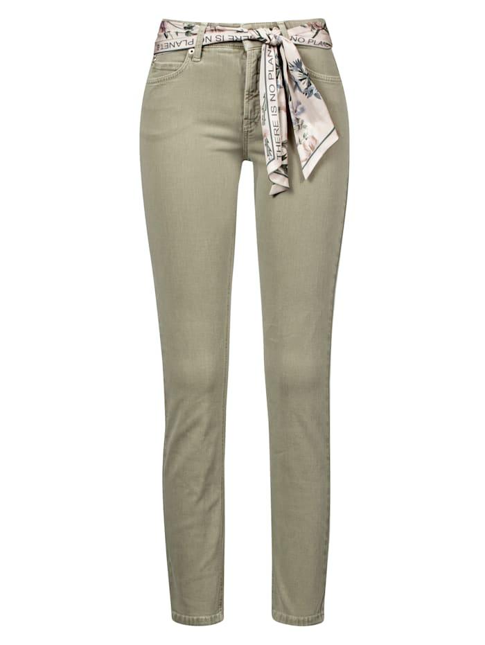 CAMBIO Jeans mit farblich abgestimmten Tuch, Khaki