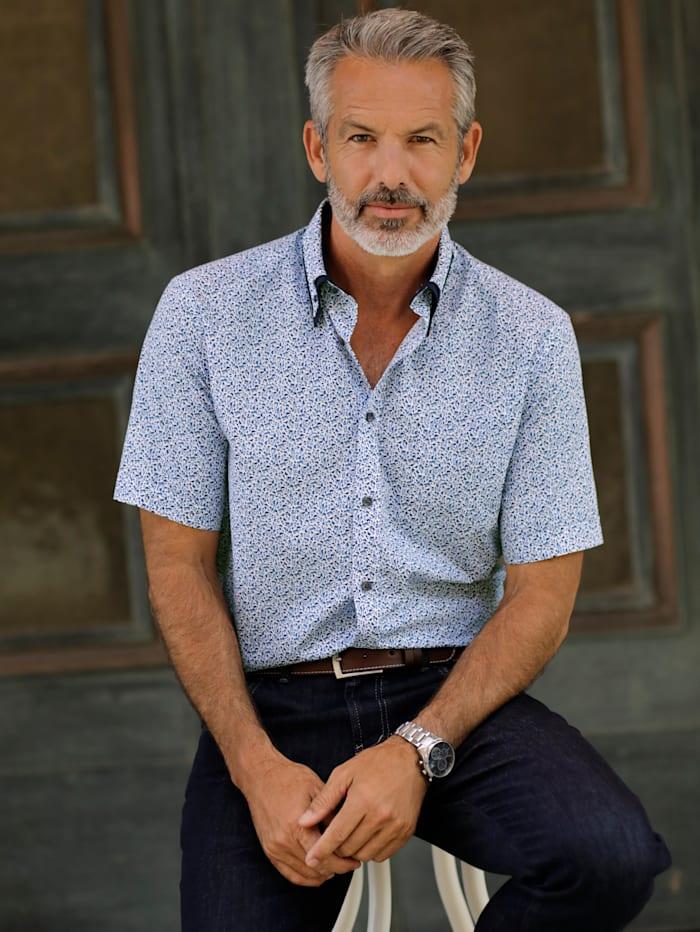 BABISTA Overhemd met dubbele kraag, Blauw/Wit