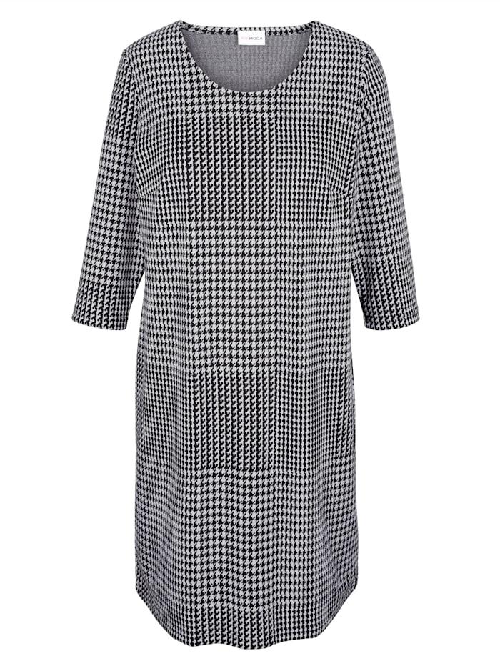 MIAMODA Šaty s glenček vzorem, Černá/Bílá