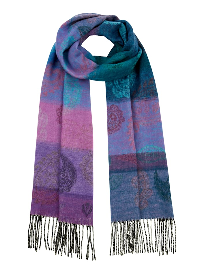 Fraas Cashmink Scarf, Purple/Turquoise