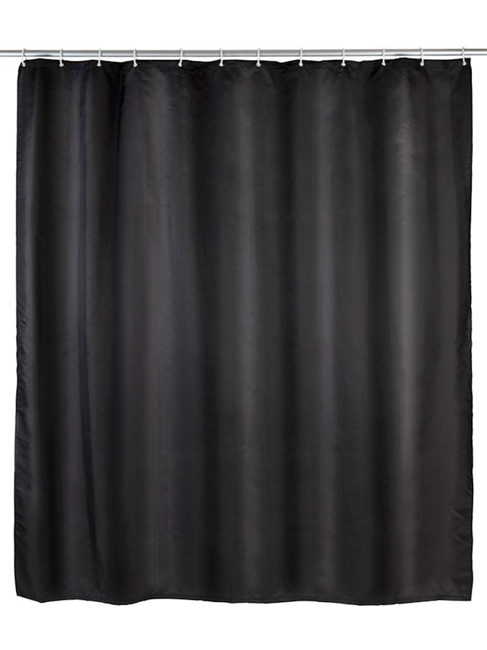 Wenko Anti-Schimmel Duschvorhang Uni Black, Textil (Polyester), 180 x 200 cm, waschbar, Schwarz