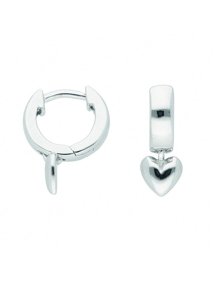 1001 Diamonds Damen Silberschmuck 925 Silber Ohrringe / Creolen Herz Ø 10,8 mm, silber