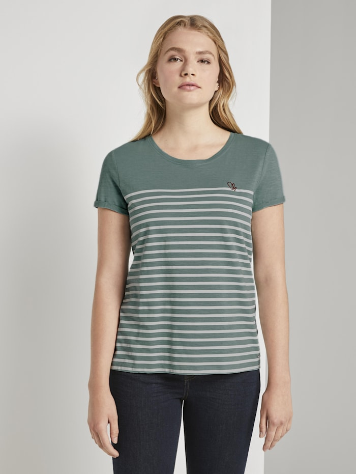 Tom Tailor Denim Gestreiftes T-Shirt mit kleiner Stickerei, Mineral Stone Blue