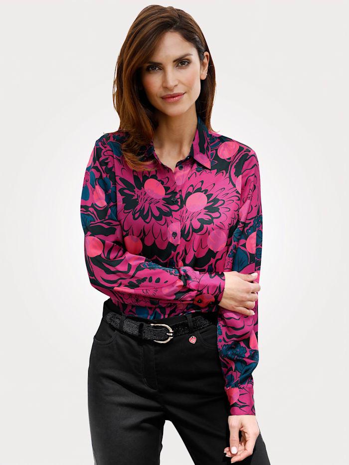 MONA Bluse mit floralem Druck, Schwarz/Pink