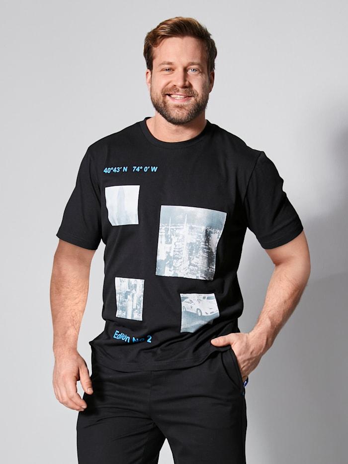 Men Plus T-Shirt schnelltrocknend, Schwarz/Weiß/Blau