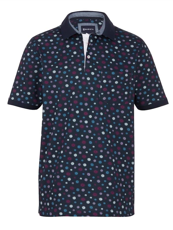 BABISTA Poloshirt mit modischem Druckdessin, Marineblau