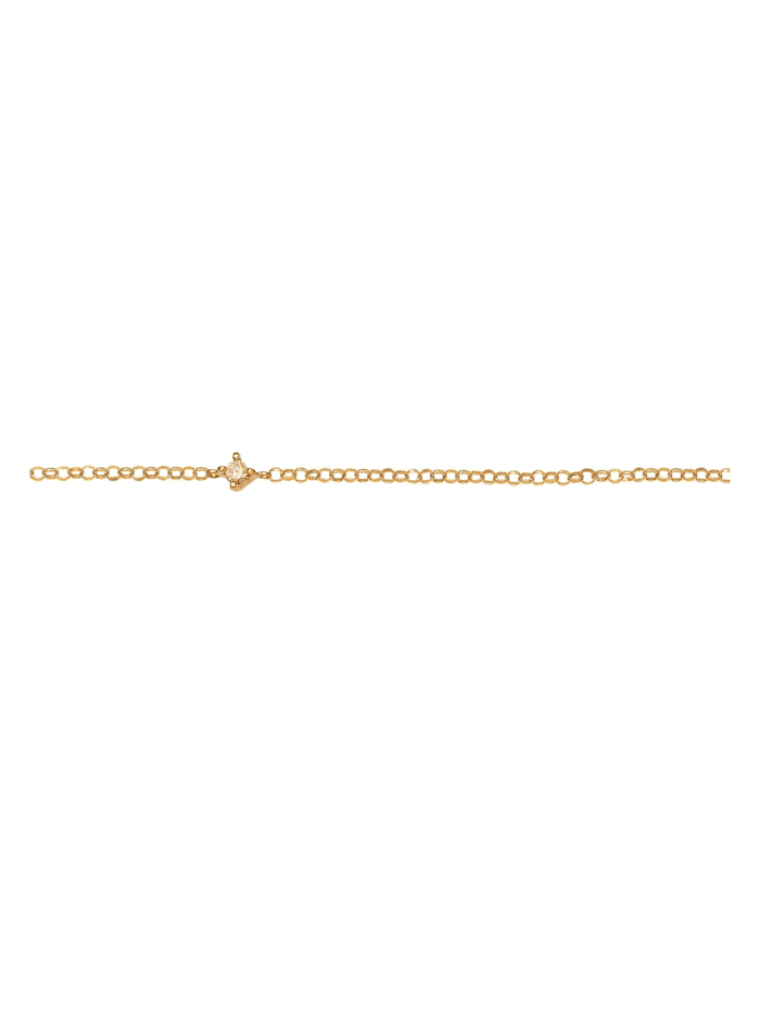 Halskette Choker Erbskette Zirkonia Solitär Zart 925 Silber