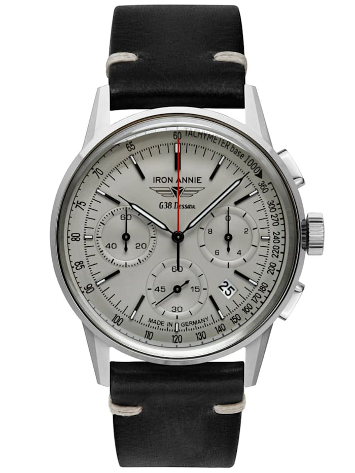 Iron Annie Herrenuhr Chronograph G38 Dessau Lederband schwarz, Creme-Weiß