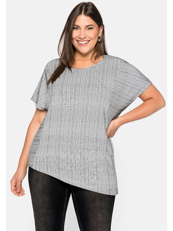 Sheego Sheego Shirt asymmetrisch, schwarz-weiß