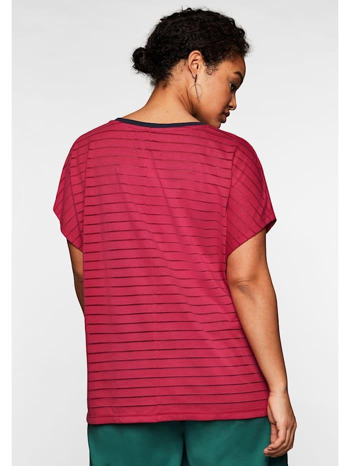 Shirt mit V-Ausschnitt, in Streifenoptik