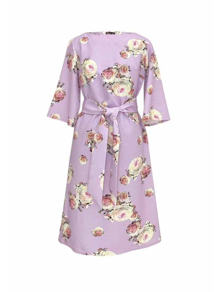 Wisell Sommerkleid mit Blumenprint und Gürtel, rosa