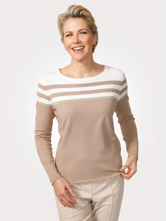MONA Pull-over en maille fine, Écru/Taupe/Coloris or