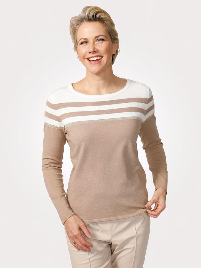 MONA Pullover aus Feinstrick, Ecru/Taupe/Goldfarben
