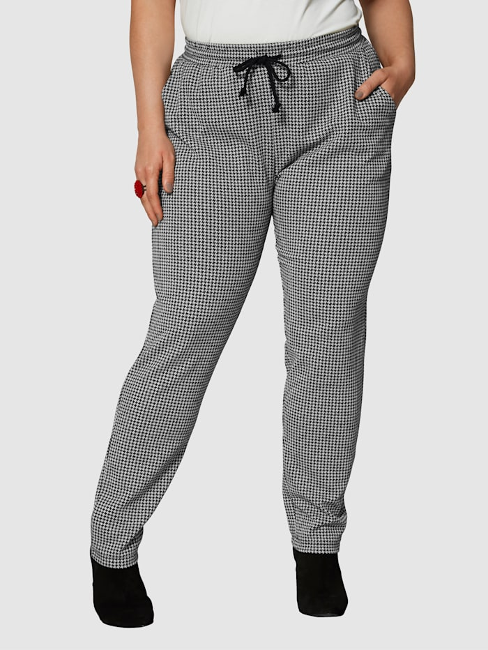 Angel of Style Sweatpants met ruitdessin, Zwart/Wit