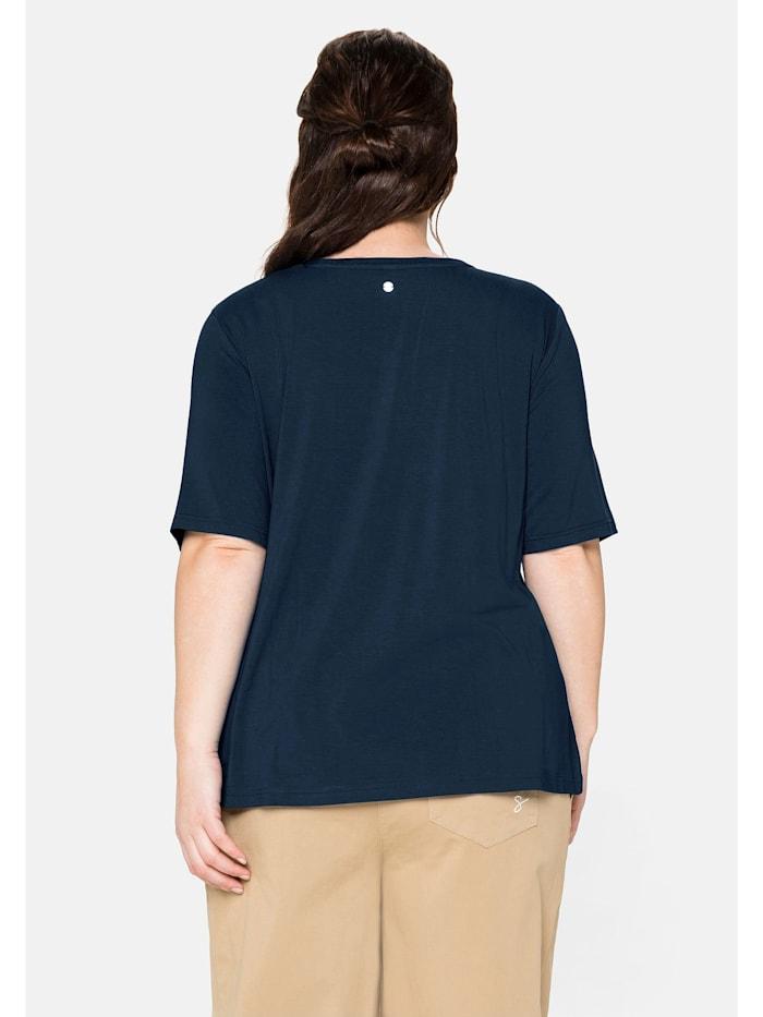 T-Shirt mit Statementdruck aus Glitzersteinen