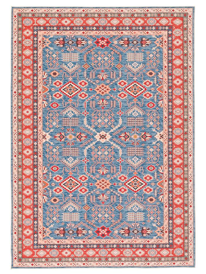 Pergamon Luxus Orient Teppich Primus  Bordüre, Blau
