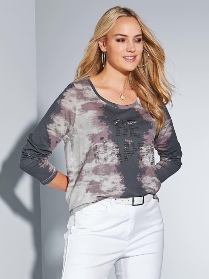 MIAMODA T-shirt long à effet batik mode, Gris/Rose