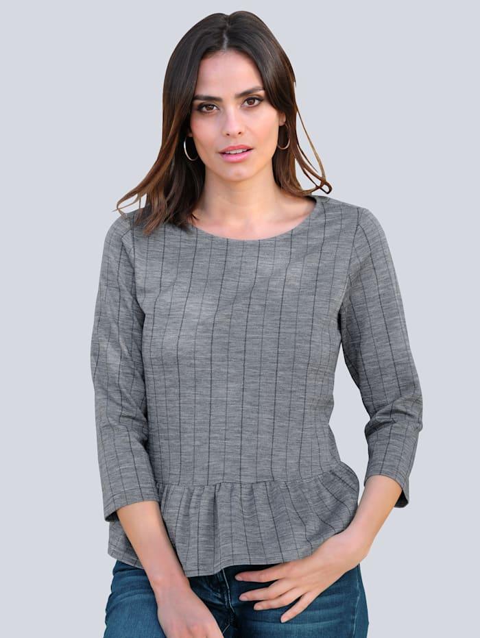 Alba Moda Shirt mit Rüschensaum, Grau/Blau