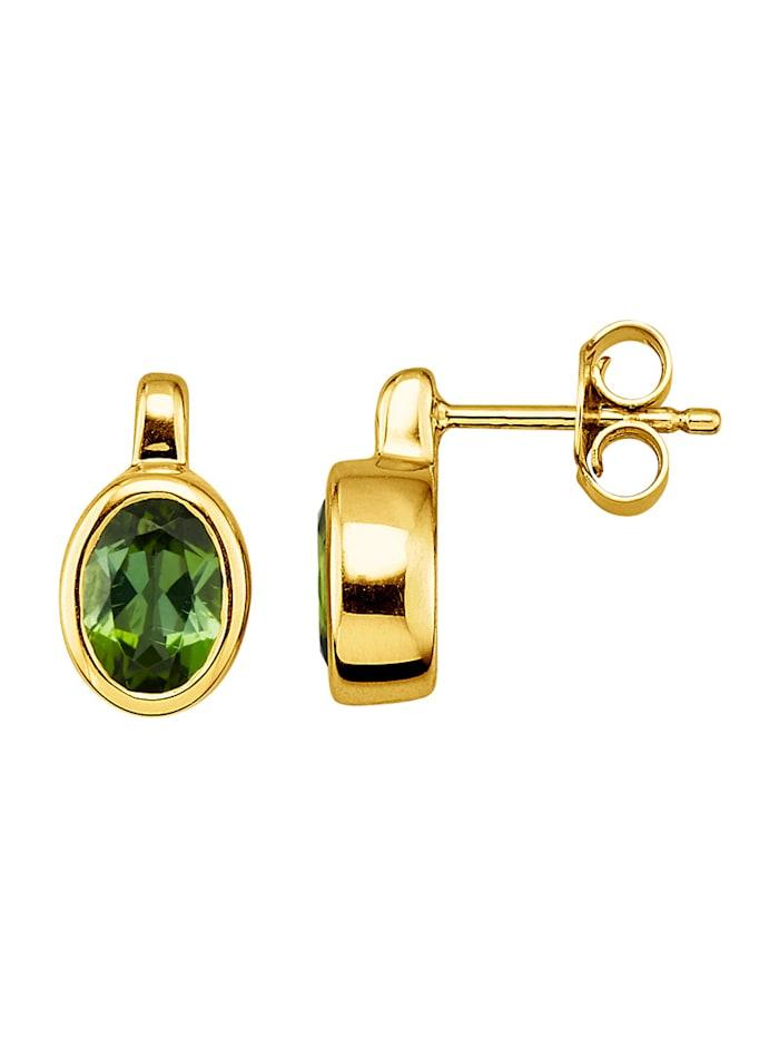 Amara Pierres colorées Boucles d'oreilles en or jaune 585, Vert