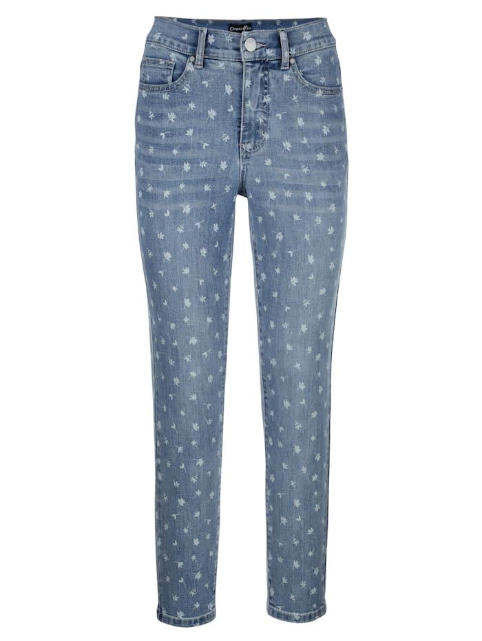 Jeans mit floralem Laserprint