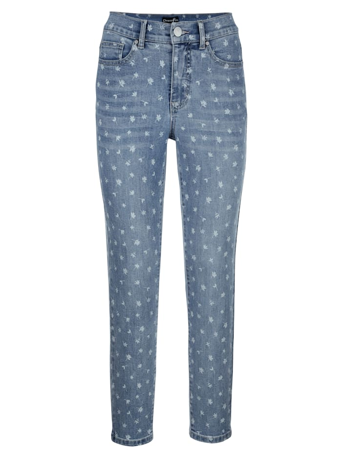 Jeans met gebloemde laserprint