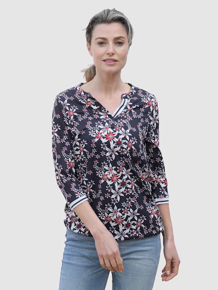 basically you Shirt mit floralem Druck, Marineblau