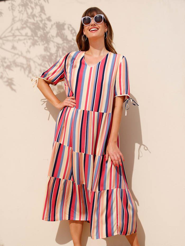 MIAMODA Kleid mit bunten Streifen, Wollweiß/Ecru