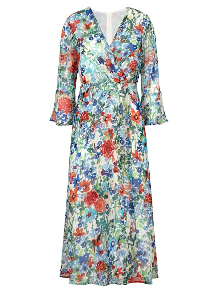 Midi dress with contrasting ribbon tie
