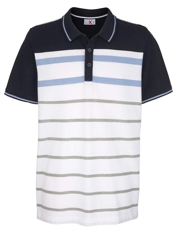 Roger Kent Poloshirt met ingebreid streepdessin, Marine/Wit