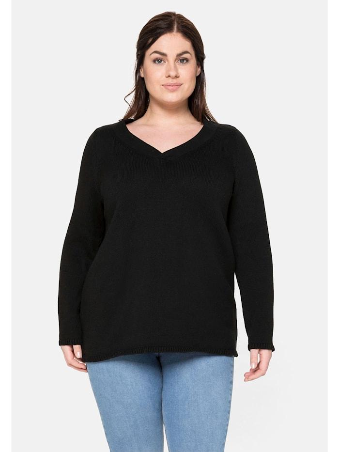 Sheego Pullover aus reiner Baumwolle, schwarz