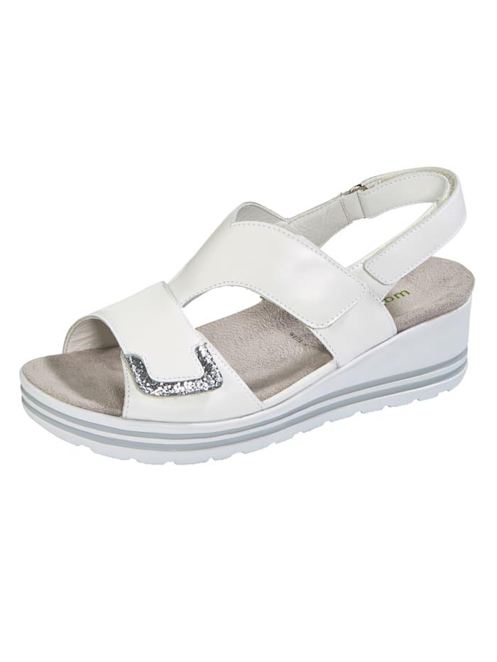 Waldläufer Sandals with glitter detail, White