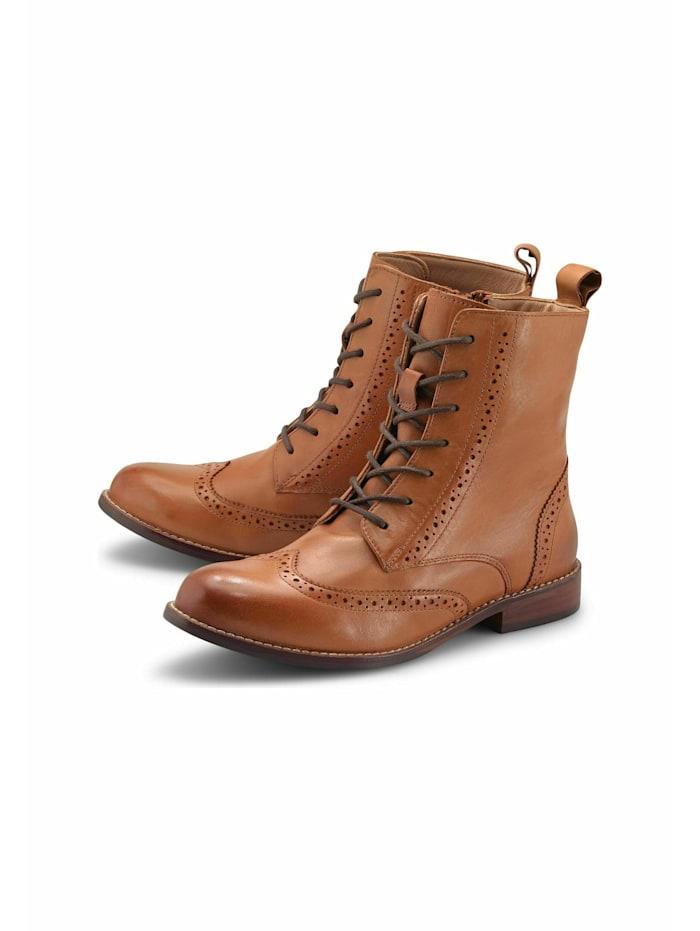 COX Schnür-Stiefeletten Schnür-Boots, mittelbraun