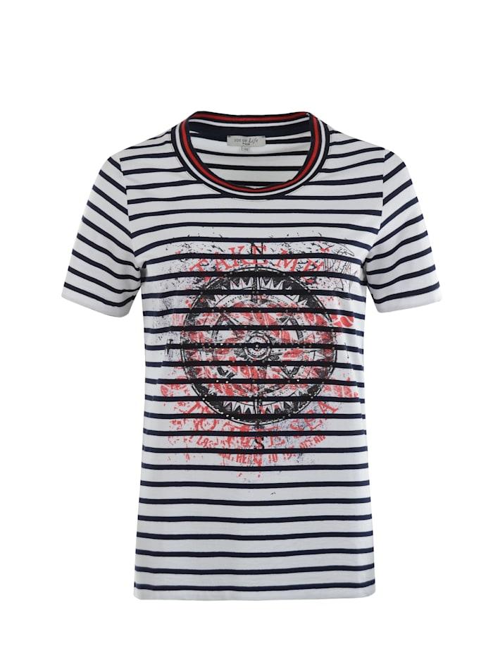 Hajo Shirt Ringel mit Motivdruck, weiß/marine