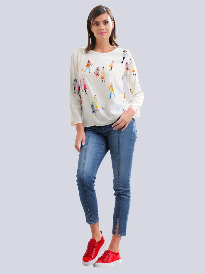 Džínsy s dekoratívnym šitím na prednej časti nohavíc