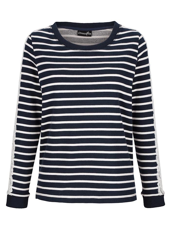 Dress In Sweat-shirt avec détails en dentelle, Marine/Blanc