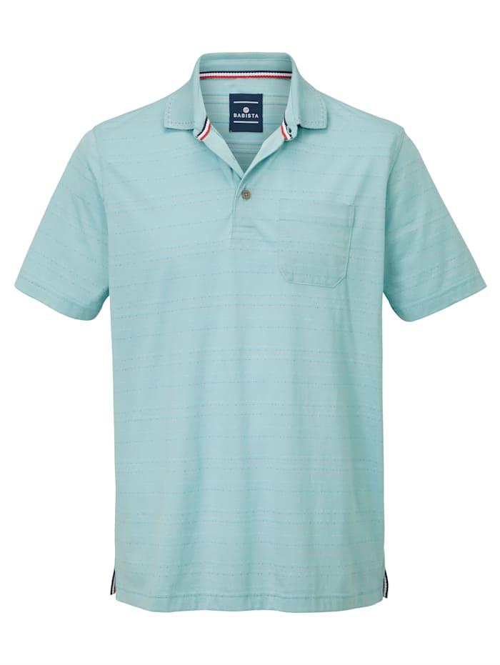 Poloshirt mit Mini-Jacquardmuster rundum