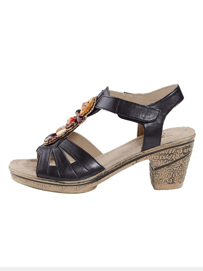 Sandaaltje met contrastkleurige sierapplicatie