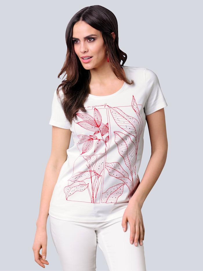 Alba Moda Shirt mit exklusivem Dessin, Off-white/Rot