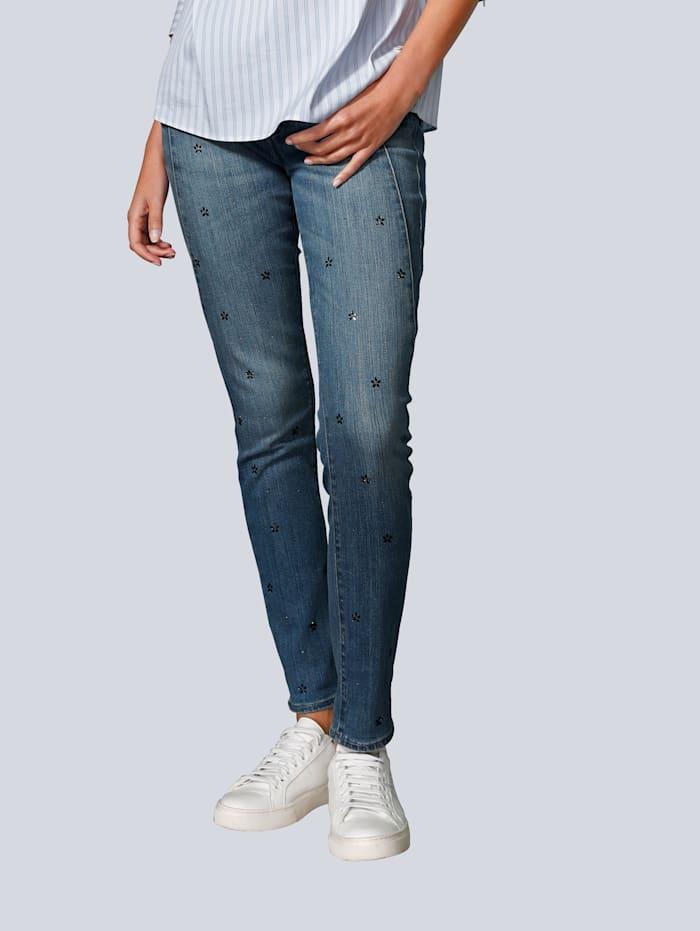 BRAX Jeans mit Hotfixblümchen, Blue stone