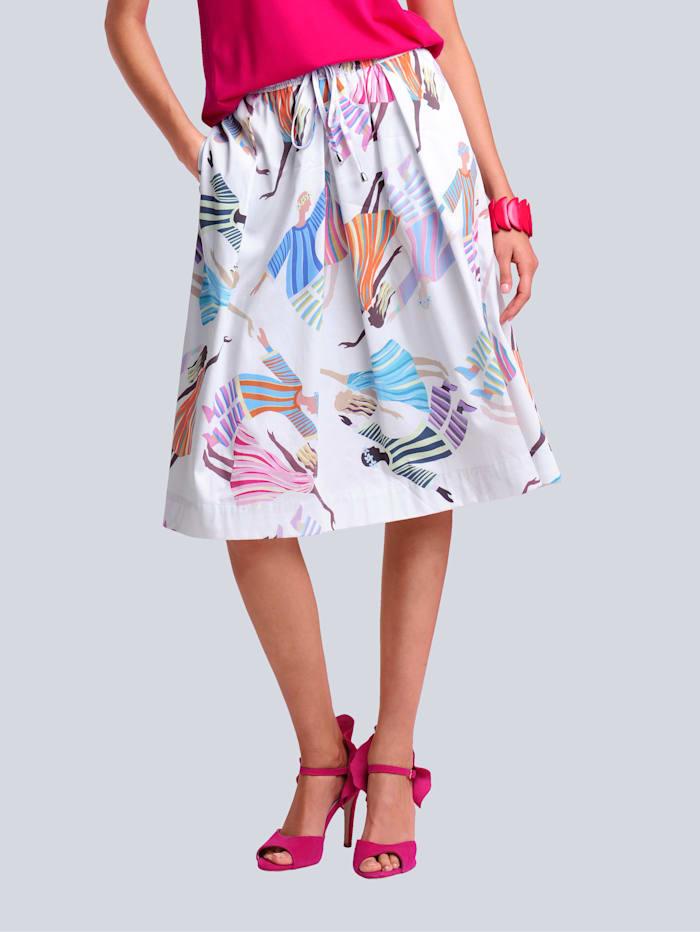 Alba Moda Rok met kleurrijke print allover, Wit/Multicolor