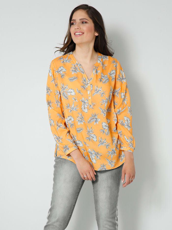 Janet & Joyce Tunika-Bluse mit floralem Druck, Gelb/Weiß