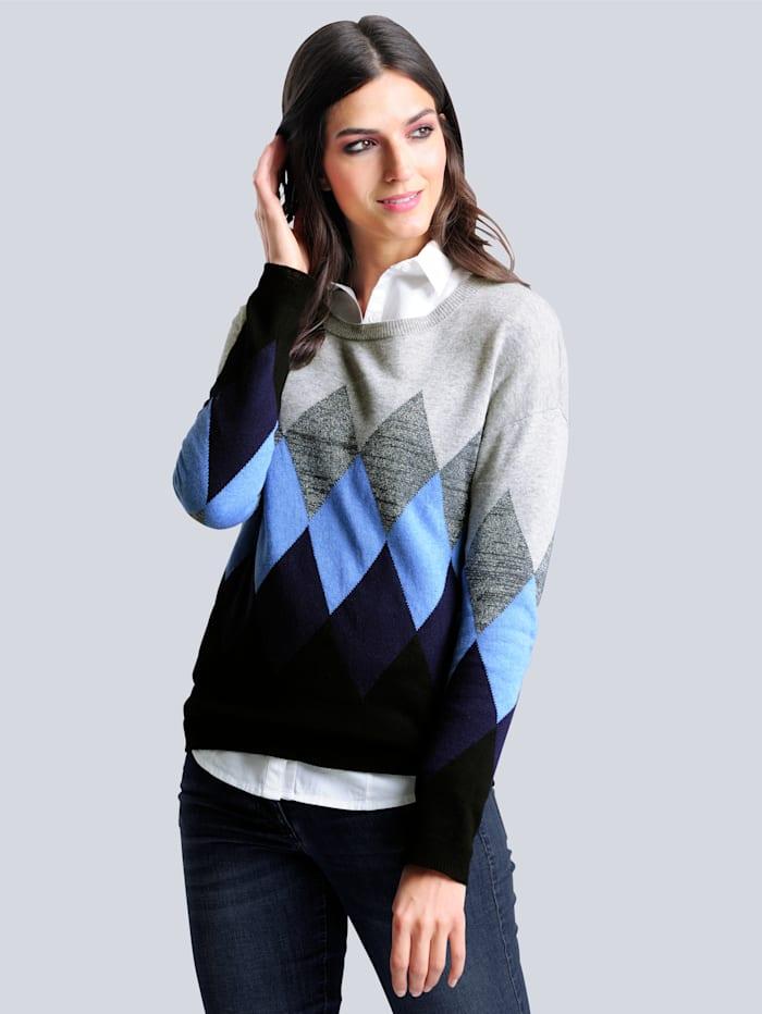 Alba Moda Pullover mit Rauten-Muster, Blau/Silbergrau