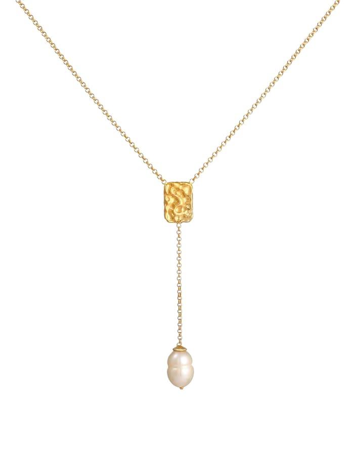 Halskette Y-Kette Barock Perle Organic Zeitlos 925 Silber