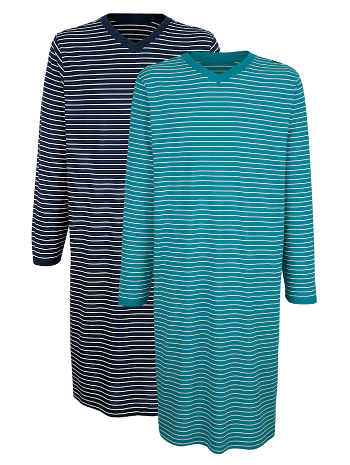 Roger Kent Nachthemden im 2er-Pack, Petrol/Marineblau