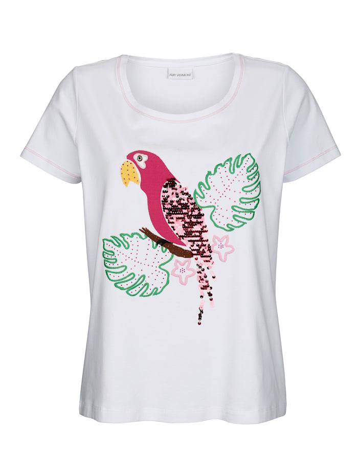 Shirt mit Papagei-Motiv im Vorderteil