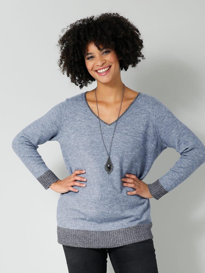 Angel of Style Pullover mit Kontrastverarbeitung, Hellblau/Grau/Silbergrau