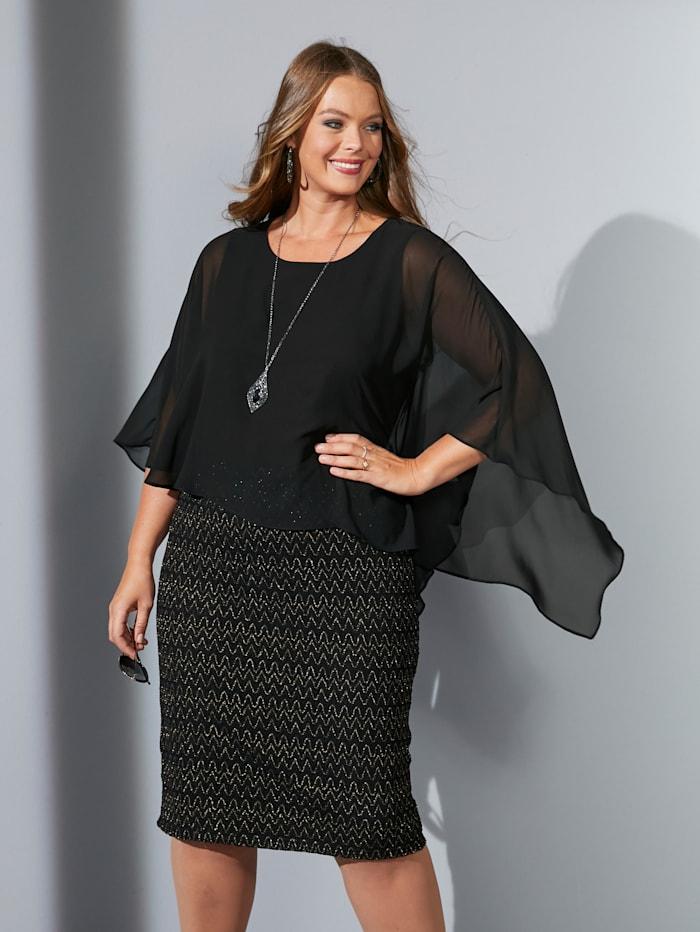 MIAMODA Kleid mit festem Chiffon-Überwurf, Schwarz