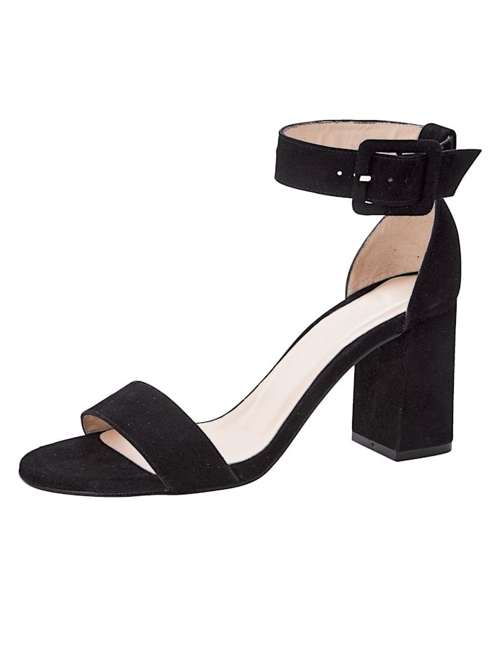 Gennia Sandale aus hochwertigem Ziegenveloursleder, Schwarz