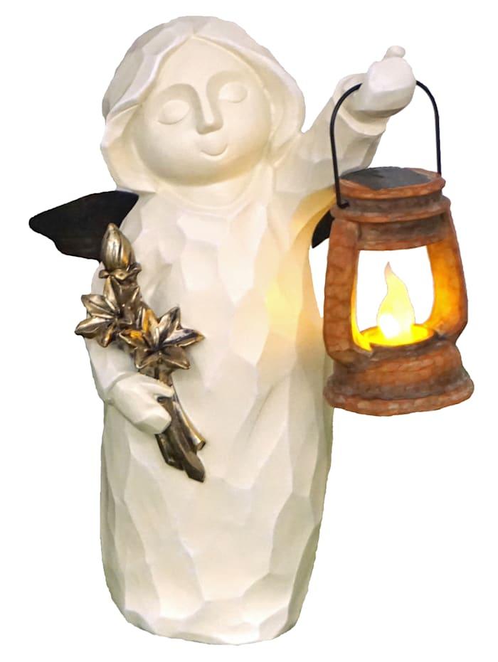 Engel mit Solarlaterne, weiß/mehrfarbig